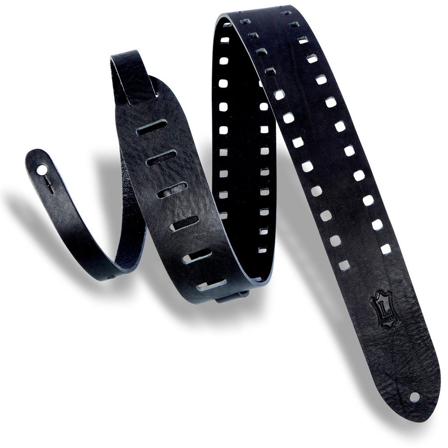 View larger image of Levy's Square Punch Out Premier Leather Guitar Strap - Black, 2