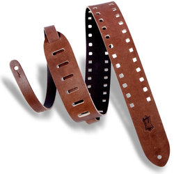 Levy's Square Punch Out Premier Leather Guitar Strap - Brown, 2
