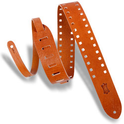 Levy's Square Punch Out Premier Leather Guitar Strap - Tan, 2