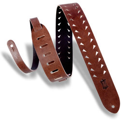 Levy's Tiger Tooth Punch Out Premier Leather Guitar Strap, Brown, 2