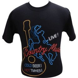 Live Country Music Neon Sign T-Shirt - XL