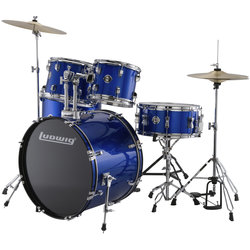 Ludwig Accent Drive 5-Piece Drum Kit - 22/14SD/16FT/12/10, Hardware, Cymbals, Throne, Blue Foil