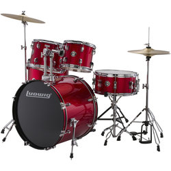 Ludwig Accent Drive 5-Piece Drum Kit - 22/14SD/16FT/12/10, Hardware, Cymbals, Throne, Red Foil