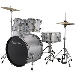 Ludwig Accent Drive 5-Piece Drum Kit - 22/14SD/16FT/12/10, Hardware, Cymbals, Throne, Silver Foil