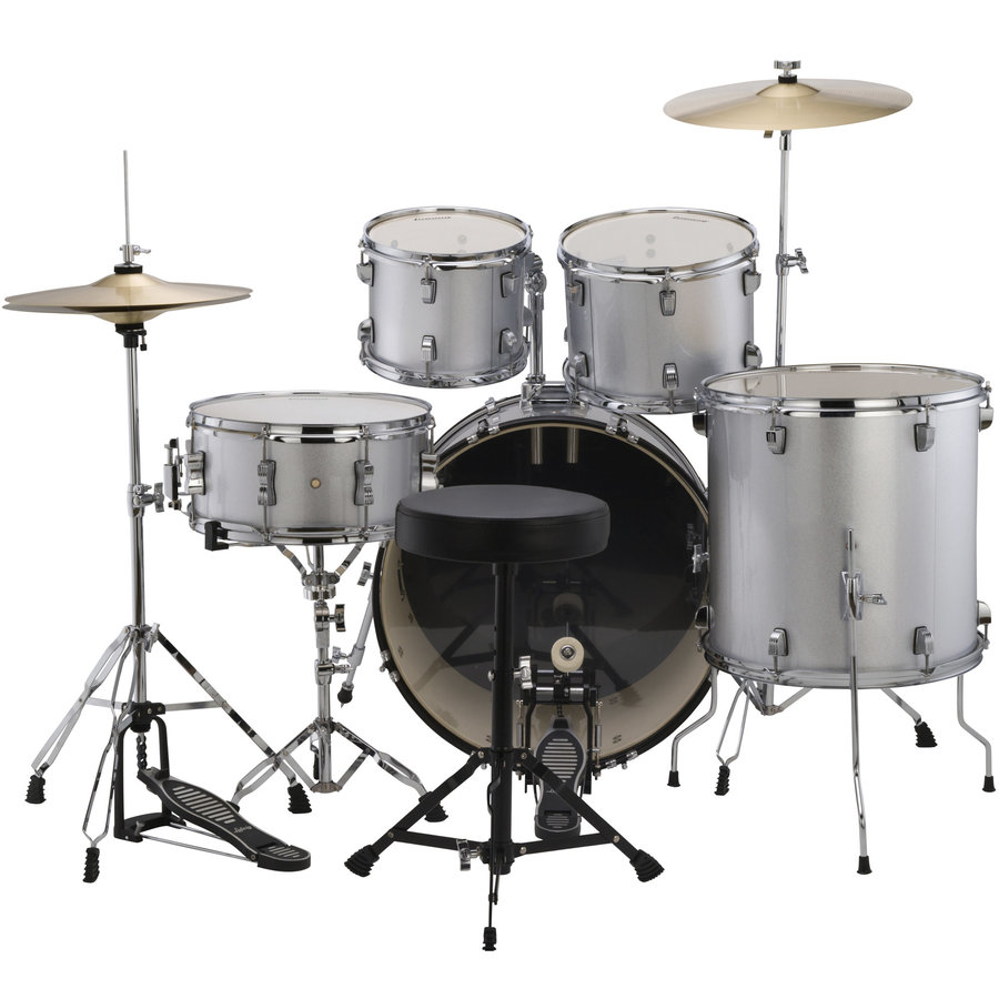 View larger image of Ludwig Accent Drive 5-Piece Drum Kit - 22/14SD/16FT/12/10, Hardware, Cymbals, Throne, Silver Foil