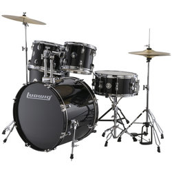 Ludwig Accent Fuse 5-Piece Drum Set - 20/14SD/14FT/12/10, Hardware, Cymbals, Throne, Black Cortex