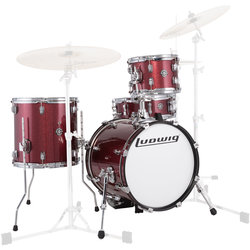 Ludwig Breakbeats by Questlove 4-Piece Shell Pack - 16/14SD/13FT/10, Red Sparkle