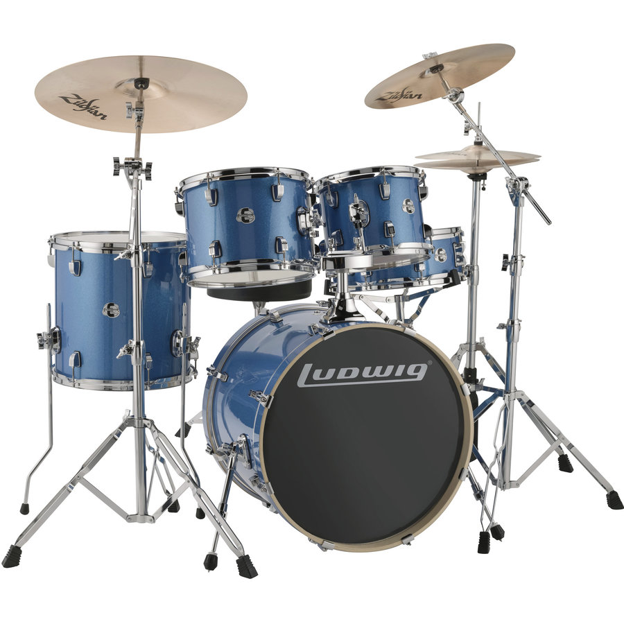 View larger image of Ludwig Element Evolution 5-Piece Drum Set - 20/14SD/14FT/12/10, Hardware, Cymbals, Throne, Blue Sparkle