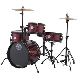Ludwig Pocket Kit Series 4-Piece Drum Kit - 16/12SD/13FT/10, Hardware, Cymbals, Throne, Red Wine Sparkle