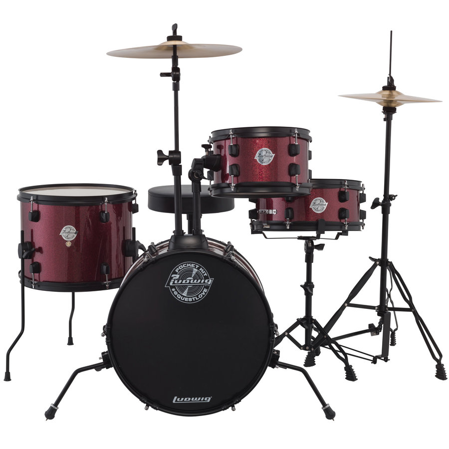 View larger image of Ludwig Pocket Kit Series 4-Piece Drum Set - 16/12SD/13FT/10, Hardware, Cymbals, Throne, Red Wine Sparkle