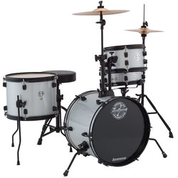 Ludwig Pocket Kit Series 4-Piece Drum Set - 16/12SD/13FT/10, Hardware, Cymbals, Throne, Silver Sparkle