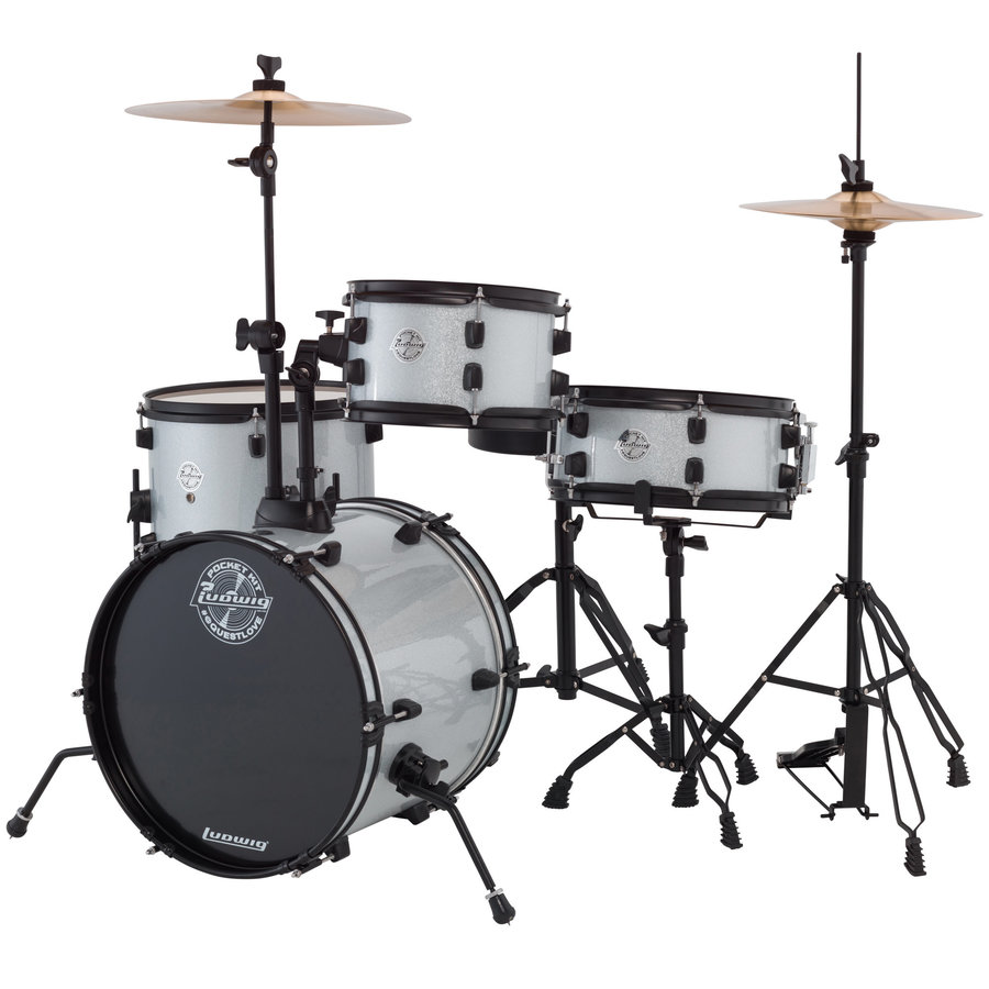 View larger image of Ludwig Pocket Kit Series 4-Piece Drum Set - 16/12SD/13FT/10, Hardware, Cymbals, Throne, Silver Sparkle