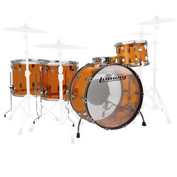 Ludwig Vistalite ZEP 5-Piece Shell Pack - 26/14SD/18FT/16FT/14, Amber