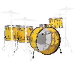 Ludwig Vistalite ZEP 5-Piece Shell Pack - 26/14SD/18FT/16FT/14, Yellow