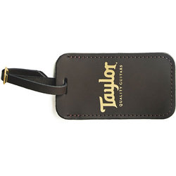Taylor Leather Luggage Tag with Gold Logo - Chocolate Brown