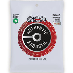 Martin Authentic Lifespan 2.0 Acoustic Guitar Strings - 12 String, 92/8, Extra Light