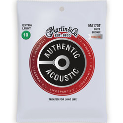 Martin Authentic Lifespan 2.0 Acoustic Guitar Strings - 80/20, Extra Light