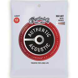 Martin Authentic Lifespan 2.0 Acoustic Guitar Strings - 80/20, Light