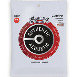 Martin Authentic Lifespan 2.0 Acoustic Guitar Strings - 92/8, Light, 3 Pack