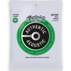 Martin Authentic Marquis Silked Acoustic Guitar Strings - 12 String, 80/20, Extra Light