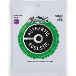 Martin Authentic Marquis Silked Acoustic Guitar Strings - 80/20, Custom Light