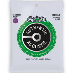 Martin Authentic Marquis Silked Acoustic Guitar Strings - 92/8, Custom Light
