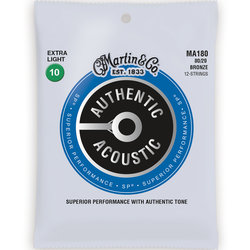 Martin Authentic SP Acoustic Guitar Strings - 12 String, 80/20, Extra Light