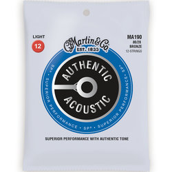 Martin Authentic SP Acoustic Guitar Strings - 12 String, 80/20, Light