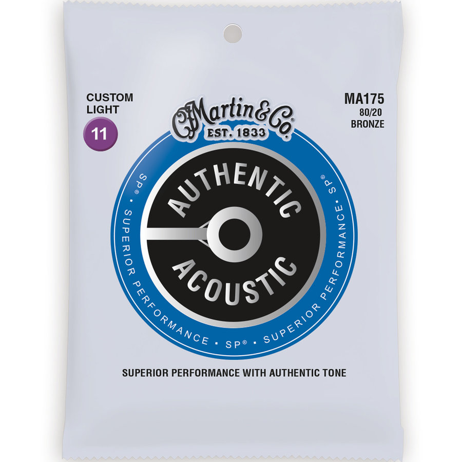 View larger image of Martin Authentic SP Acoustic Guitar Strings - 80/20, Custom Light