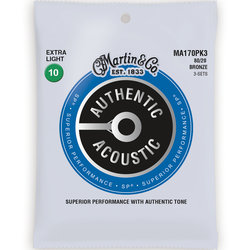Martin Authentic SP Acoustic Guitar Strings - 80/20, Extra Light, 3 Pack