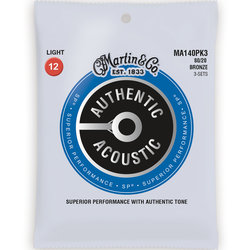 Martin Authentic SP Acoustic Guitar Strings - 80/20, Light, 3 Pack