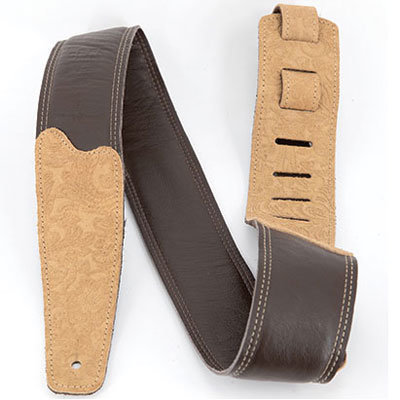 """View larger image of Martin Floral Embossed Leather Guitar Strap - 2"""", Brown"""