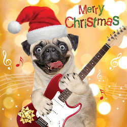 Merry Christmas Card - Dog with Guitar