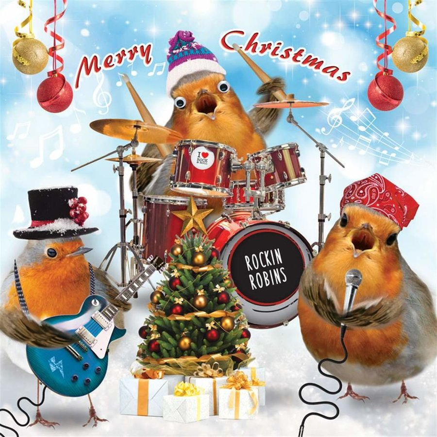 View larger image of Merry Christmas Card - Rockin' Robins