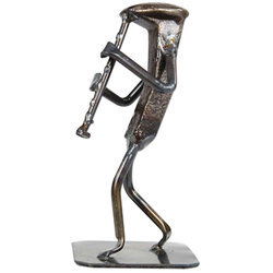 Metal Clarinet Player Sculpture - 6