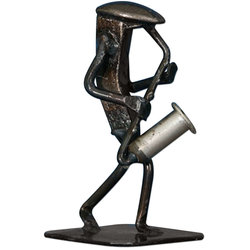 Metal Saxophone Player Sculpture - 6