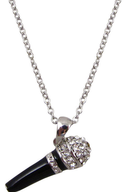 View larger image of Microphone Necklace with Rhinetones - Silver/Black
