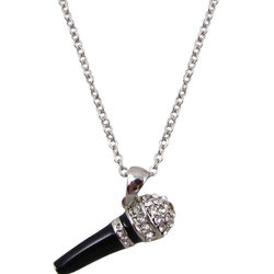 Microphone Necklace with Rhinetones - Silver/Black