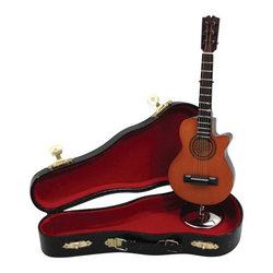 Mini Acoustic Guitar with Case - Brown, 7