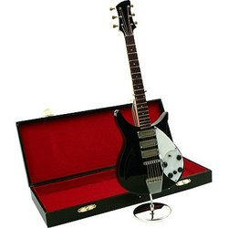 Mini Electric Guitar with Case - Black, 9-1/2