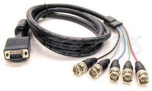 View larger image of Molded VGA to 5 x BNC Cable - Male to Male - 6'
