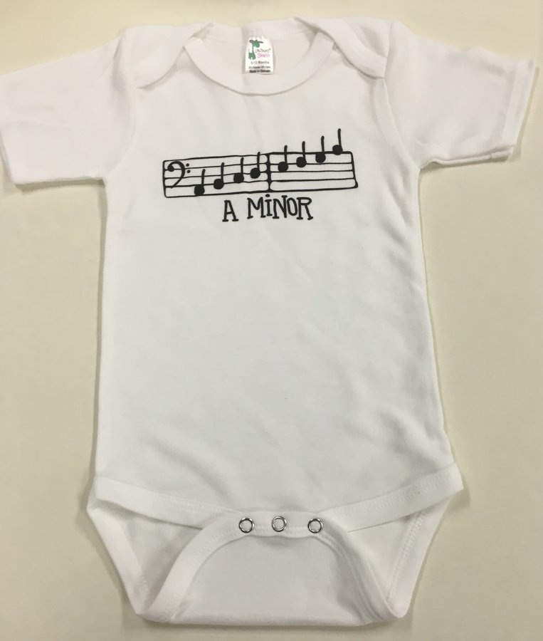 View larger image of Music Gifts A Minor Onesie - White, 6-12 Months