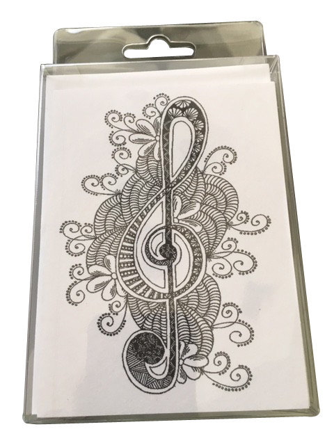View larger image of Music Gifts Colouring Notecards with Pencil