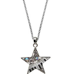Music Keyboard Star Necklace with Crystals