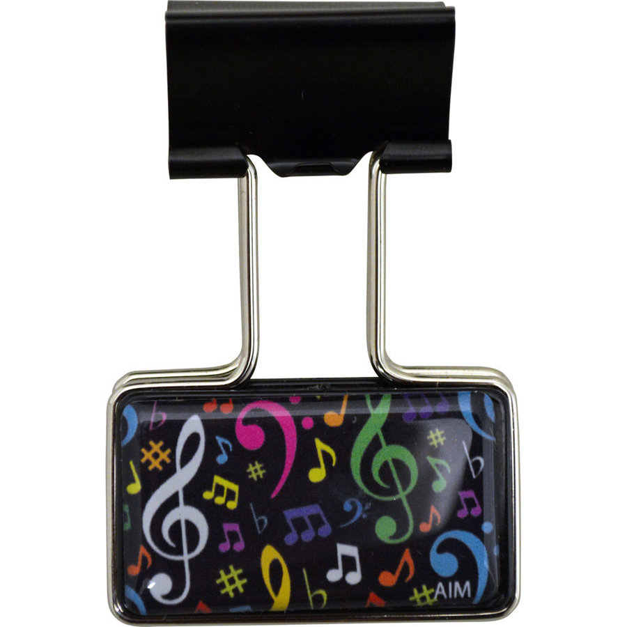 View larger image of Music Note Binder Clip - Black/Multi