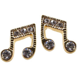 Music Note Crystal Earrings - Gold
