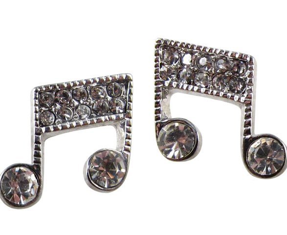 View larger image of Music Note Crystal Earrings - Silver