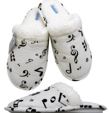 View larger image of Music Note Flannel Slipppers - White/Black, Large