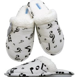 Music Note Flannel Slipppers - White/Black, Large