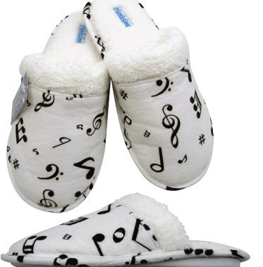 View larger image of Music Note Flannel Slipppers - White/Black, XL
